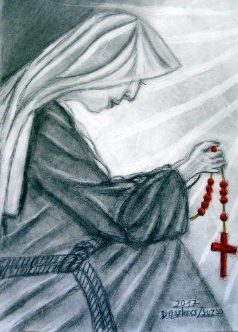 Áhitat - Emberek szénrajzok Apácanő rózsafüzérrel imádkozik