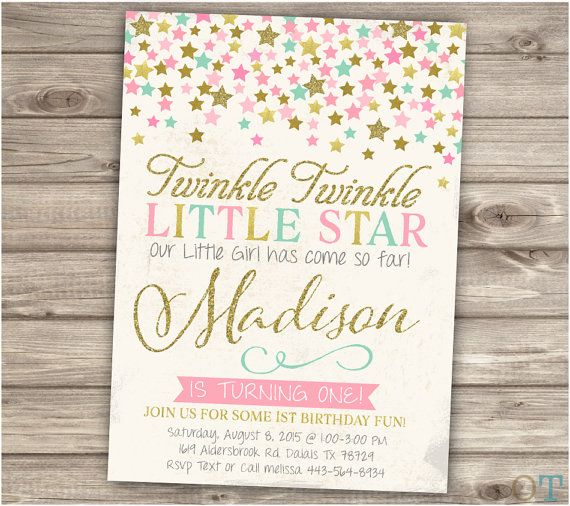 Twinkle Twinkle Little Star Birthday Invitations by cardmint                                                                                                                                                                                 More