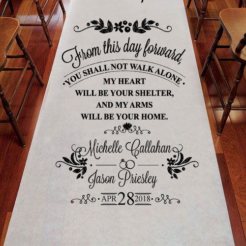 From This Day Foward Personalized Wedding Aisle Runner
