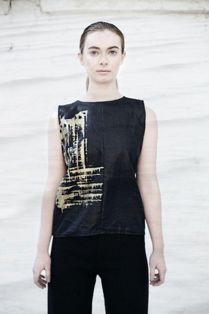 We are Islanders Black Beetle Linen Hand-Printed Tunic