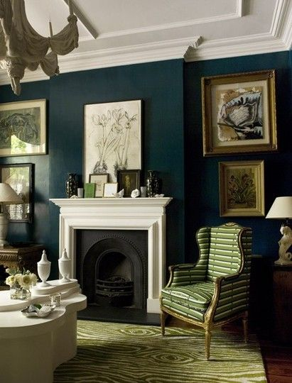 "love the walls, chandelier, and ""faux bois"" rugWall Colors, Living Rooms, Home Interiors, Blue Walls, Fireplaces, Livingroom, Dark Walls, House, Wall Colours"