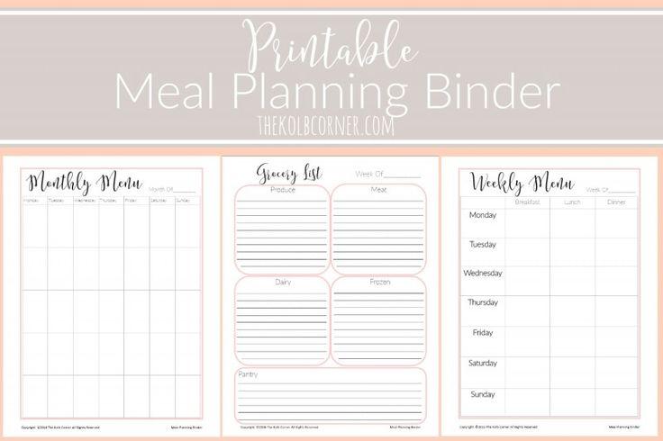 Printable Meal Planning Binder