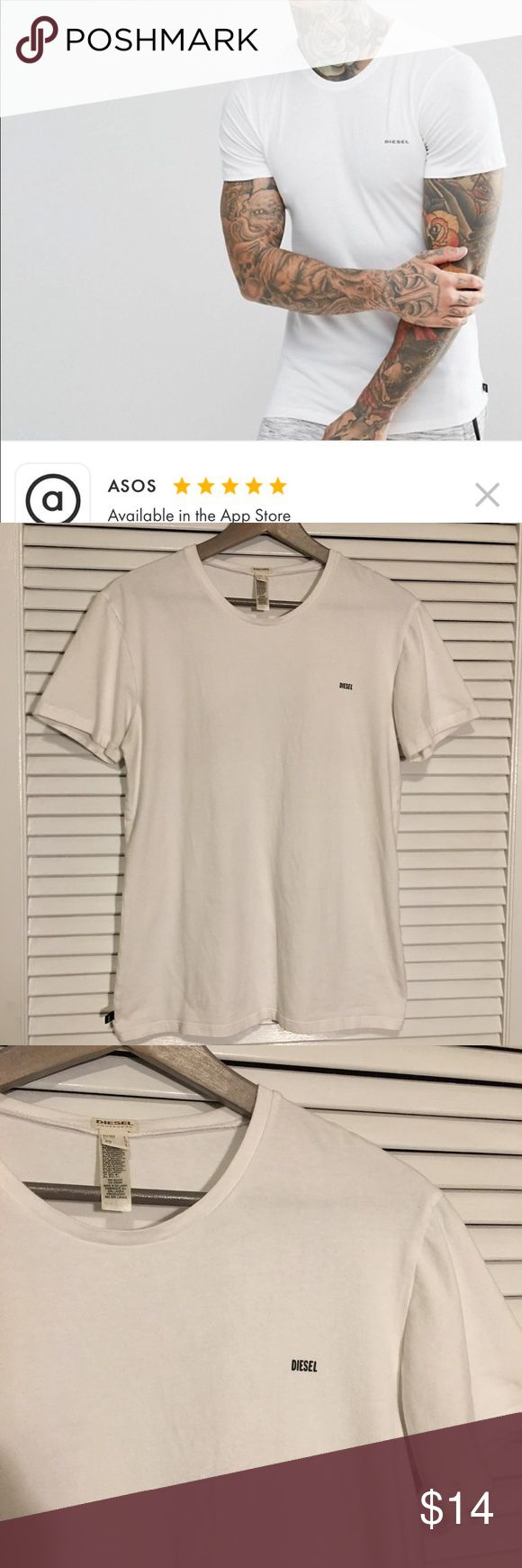 """Diesel Essential T-Shirt Good condition (worn twice) white diesel essential Tshirt. It is diesel """"underwear"""" meant to be worn as an undershirt. This does fit snug for a large, better as a medium for normal shirt wear. Diesel Shirts Tees - Short Sleeve"""