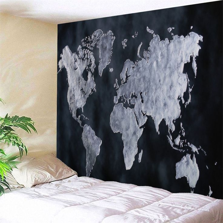 World Map Pattern Wall Tapestry For Home