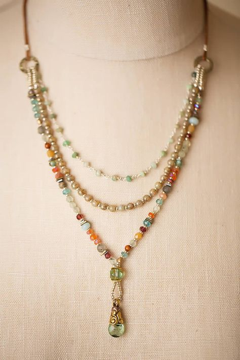 Unique Jewelry - Handcrafted Gemstone Designer Necklace with Tibetan focal for Women | by Anne Vaughan Designer Jewelry