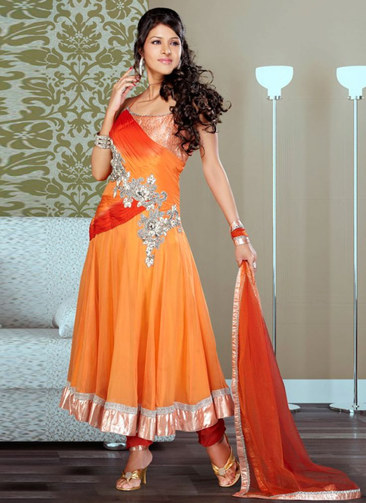 Orange Shaded Long Georgette Anarkali Suit
