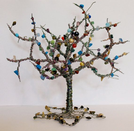Bespoke wire tree forest sculpture with beads and gemstones. Height Approx 20cm. You choose colour, size, and design.