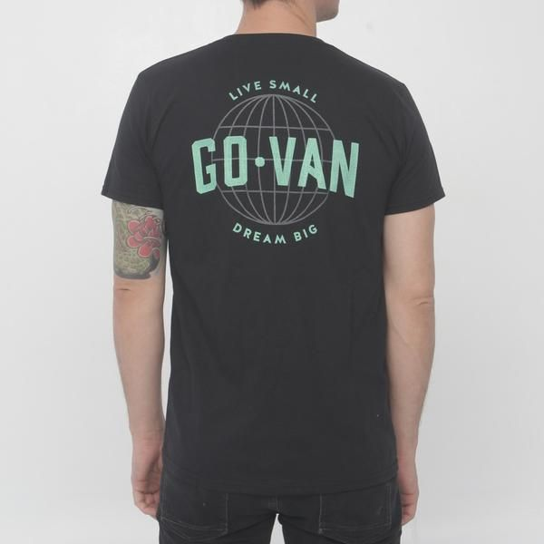 This tee is for everyone living small and achieving big things. Black tee with grey logo on the front and grey/ flashy green print on the back. Already a classic captain t-shirt! Hand printed somewhere on the road in CanadaCotton and polyester blendAvailable in S-M-L-XLRegular fitModel is 6' (180 cm) and wears a medium