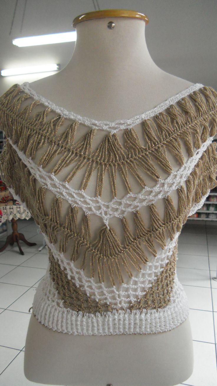 Blusa crochê de grampo                                                                                                                                                      Más                                                                                                                                                     More