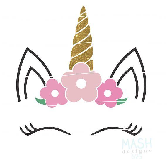 Svg de unicornio floral svg cabeza floral Unicornio