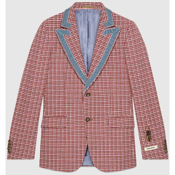 Gucci Heritage Houndstooth Wool Jacket ($3,450) ❤ liked on Polyvore featuring men's fashion, men's clothing, men's outerwear, men's jackets, mens retro jackets, mens slim jacket, mens wool jacket, mens slim fit jackets and men's embroidered bomber jacket