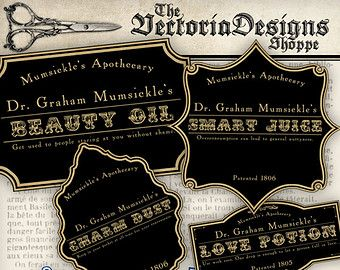 Magic Steampunk Apothecary Labels - an inspiring collection of different steampunk bottle and jar labels for Halloween. Put them on regular bottles which you filled with all sorts of things. Success guaranteed! What you actually want to know: ° 15 high quality (300 dpi) labels on one 8.5 x 11 sheet for easy printing ° each label is 3 x 1.5 inch - 7.6 x 3.8 cm ° JPG and PDF  Same labels larger: www.etsy.com/listing/150318938/instant-download-15-large-steampunk ________________________  Save…