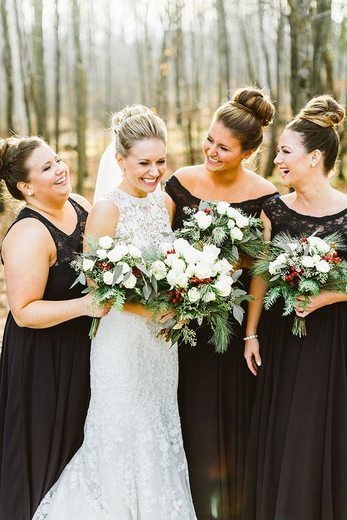 black winter bridesmaids   Molly Jo Collection   Glamour & Grace