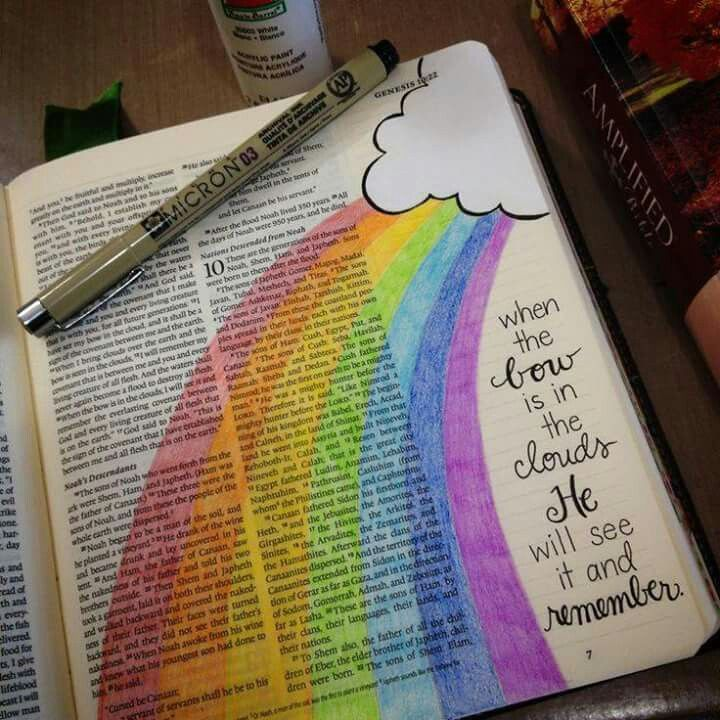 Bible Journalling a rainbow in the sky.