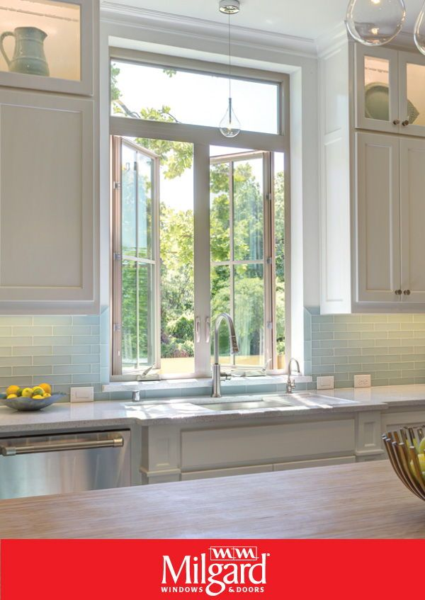 For A Farmhouse Kitchen Look Try Using White Casement Windows They Add A Beautiful Touch And Also Allow Kitchen Window Design Casement Windows Kitchen Window