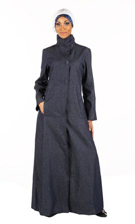 High Neck Denim Abaya | Women | Eastessence.com