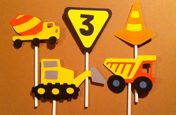 12 Construction theme cupcake toppers, Construction party decorations, banners, party signs,  first birthday, construction baby shower