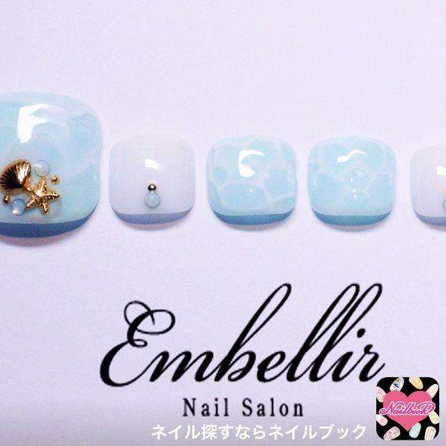 ネイル 画像 Embellir 横浜店 横浜 991405 ブルー スターフィッシュ 夏 ソフトジェル フット ショート