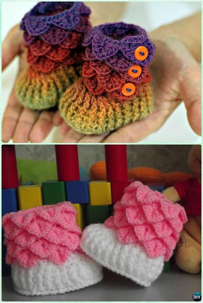 Crochet Crocodile Stitch Baby Booties Free Pattern-Crochet Ankle High Baby Booties Free Patterns