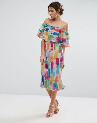 Every Cloud Smudge Print Bardot Midi Dress
