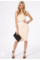 Noa Waist Band Detail One Shoulder Midi Dress In Nude MissGuided £29.99