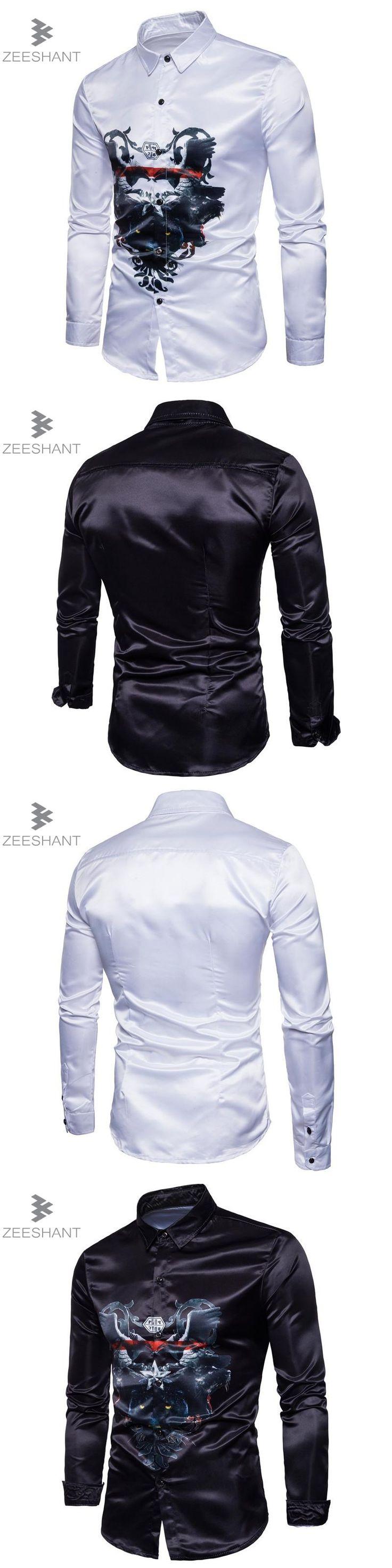 Zeeshant Tuxedo Shirts Classic  Shirt For Men Slim Fit Style Male Casual Mens Long Sleeve Designer in Men's Tuxedo Shirts XXL