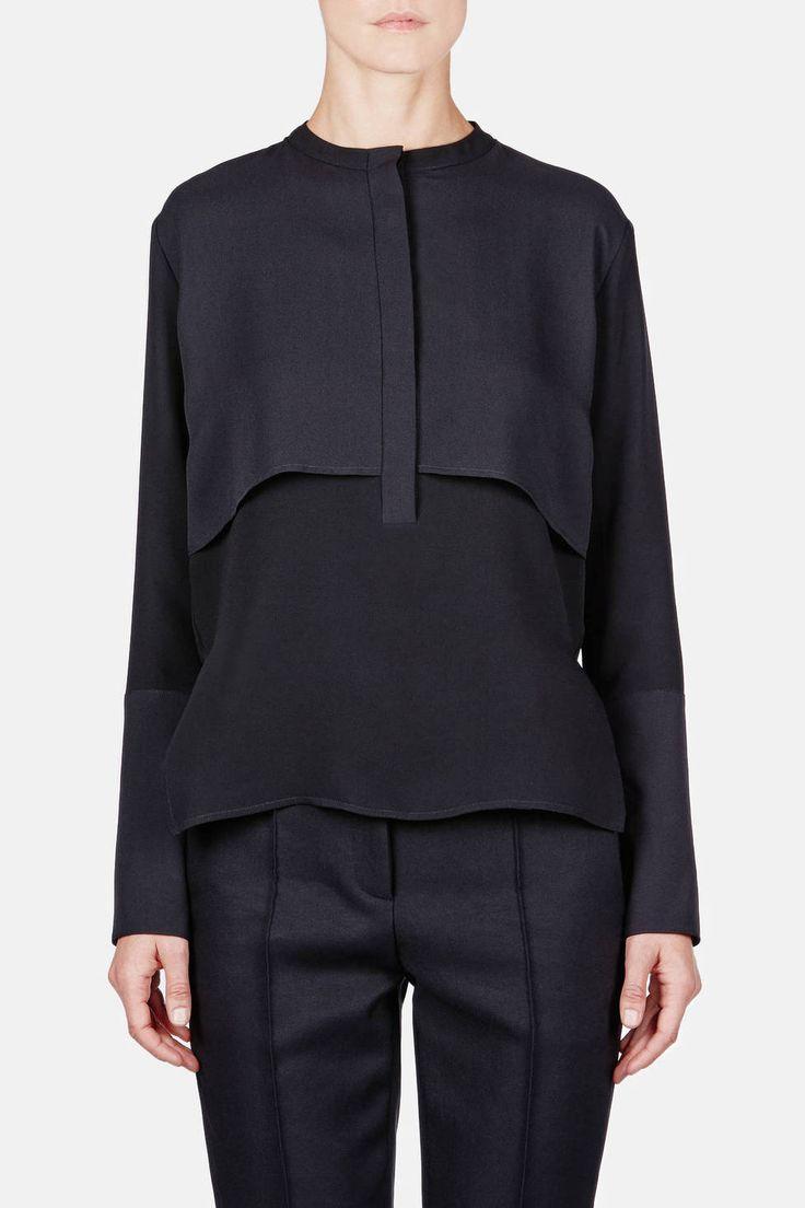 Protagonist — Shirt 08 Split Layer Blouse Black — THE LINE