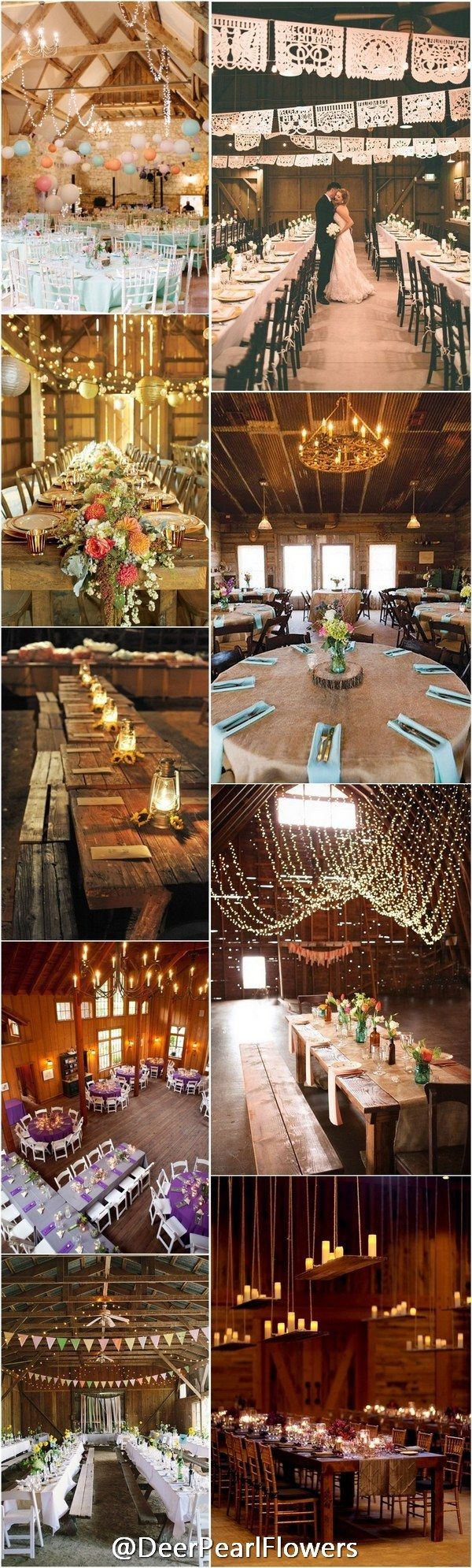 Rustic fall wedding ideas - Rustic Barn Wedding Reception Table Setting Ideas / http://www.deerpearlflowers.com/barn-wedding-reception-table-decoration/