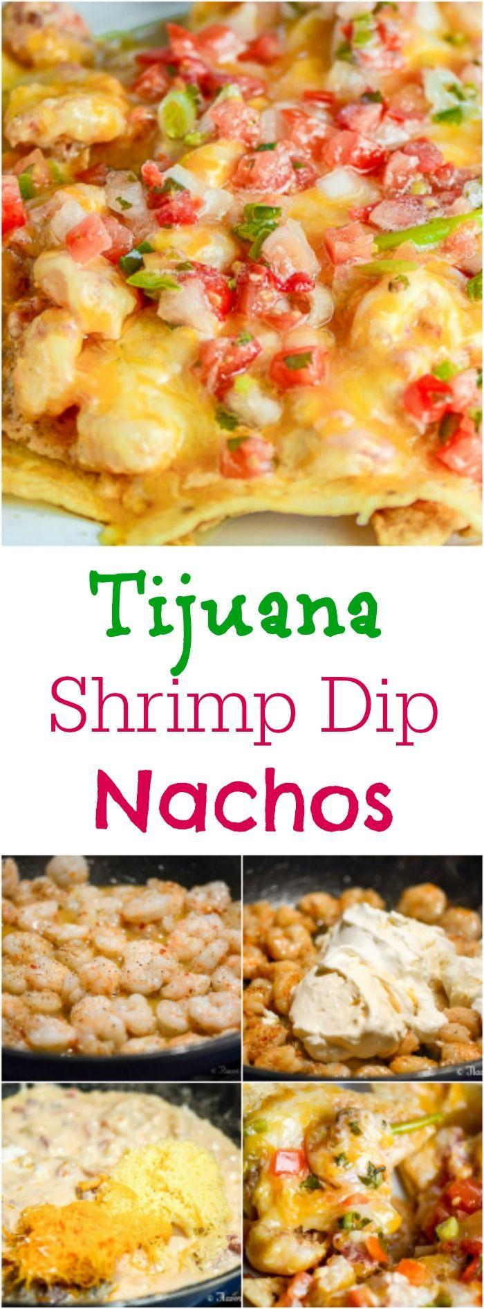 Tijuana Shrimp Dip Nachos are a cheesy, creamy, spicy, and crunchy appetizer. ~ http://FlavorMosaic.com
