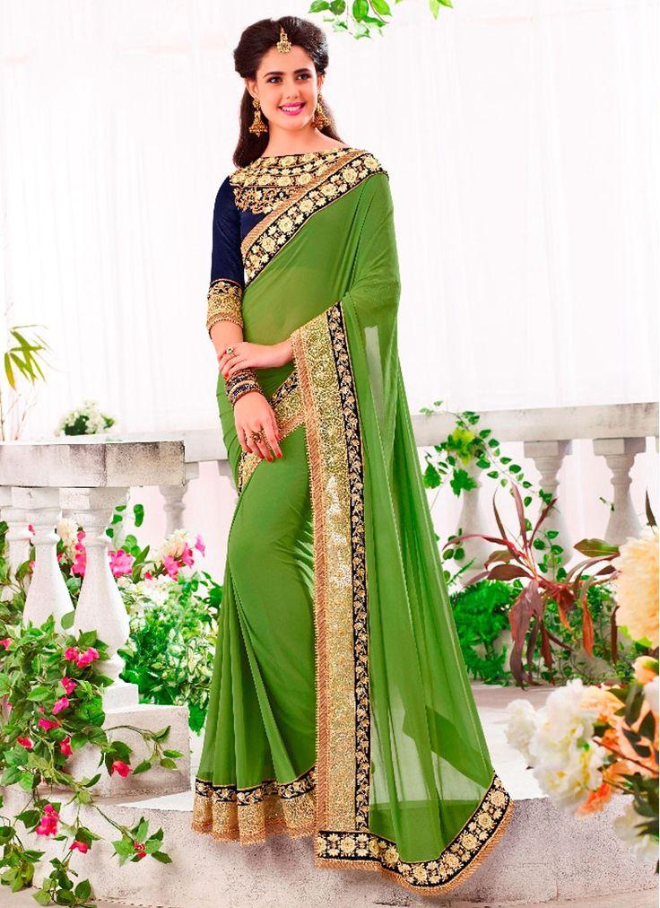 Glossy Green Patch Border Work Georgette Designer Saree