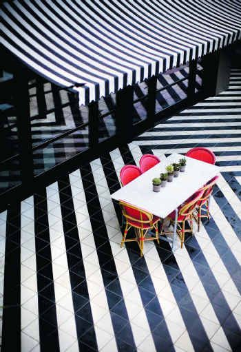 hotel st celcelia // love the black and white stripes. For umbrellas in B/W see www.caravita.eu available in Aus/NZ from casualife furniture Melbourne