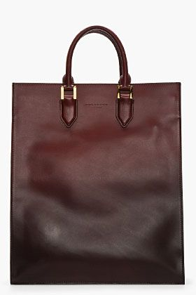 Burberry Prorsum Burgundy Ombre Leather Cloption Tote for men | SSENSE