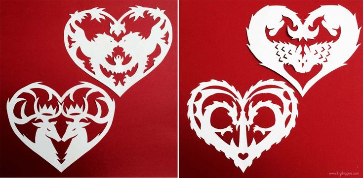 Free DIY Valentine heart paper cutout patterns, inspired by Game of Thrones
