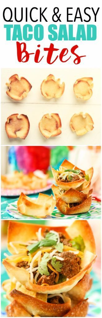 "These taco salad bites look amazing, perfect for parties, bridal showers, or even baby showers! Make little crispy ""taco"" shells in a muffin tin and fill with taco salad toppings! Perfect for Cinco de Mayo party food!"