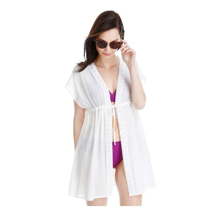 Open Front Tunic Cover Up in White from Joe Fresh