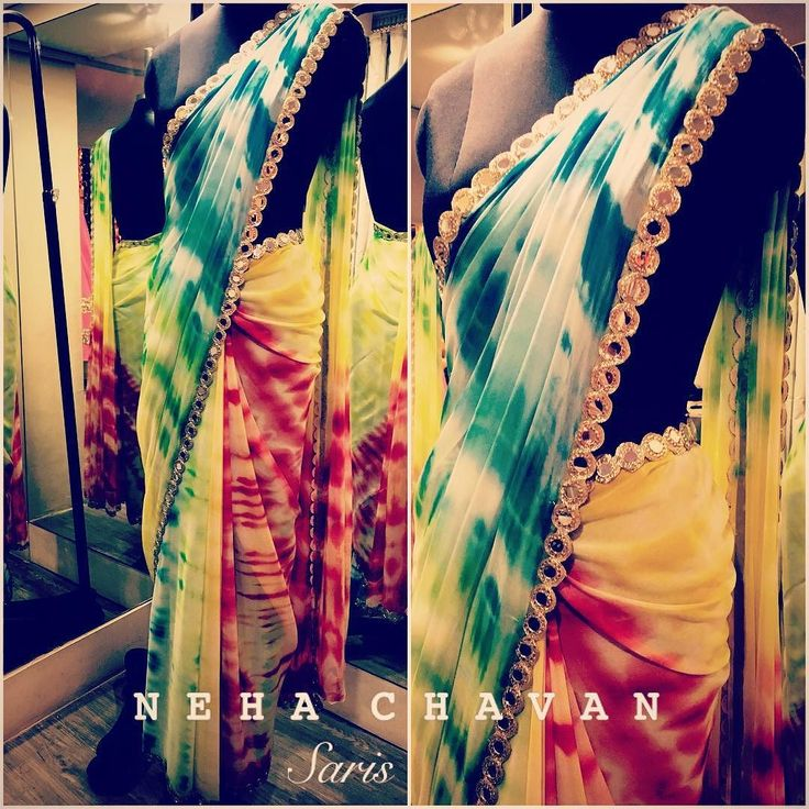 A beautiful tye dye multicolor saree with a mirror work border all over to grab…