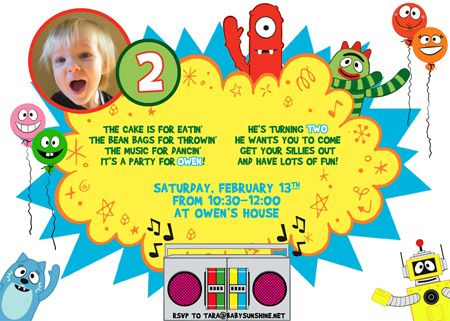 131 best yo gabba gabba birthday party images on pinterest | yo, Birthday invitations