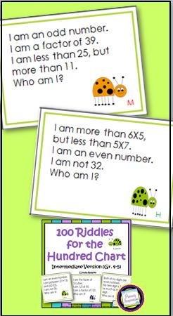 100 riddle card for spiraled math review in fourth and fifth grade. Each card gives 2 to 3 clues, with each clue directed at a different topic. The topics include area, perimeter, factors, multiples, place value, multiplication, division, remainders, prime numbers, angles, 2-dimensional shape, decades, centuries, and coins. Answer key included for self-checking! $ https://www.teacherspayteachers.com/Product/Fourth-Grade-and-Fifth-Grade-Math-100-Riddles-for-the-Hundred-Chart-408622