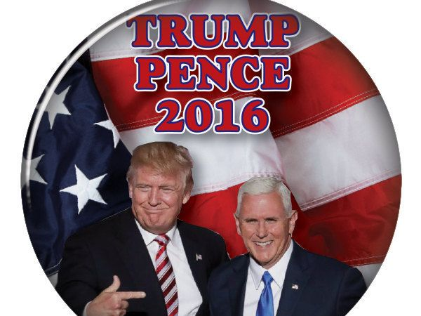 "DONALD TRUMP & Mike PENCE 3"" Campaign Pin Back Button for Presidential Candidate 2016 by Badgelady117 on Etsy"