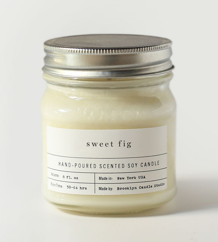 sweet fig soy candle. typography