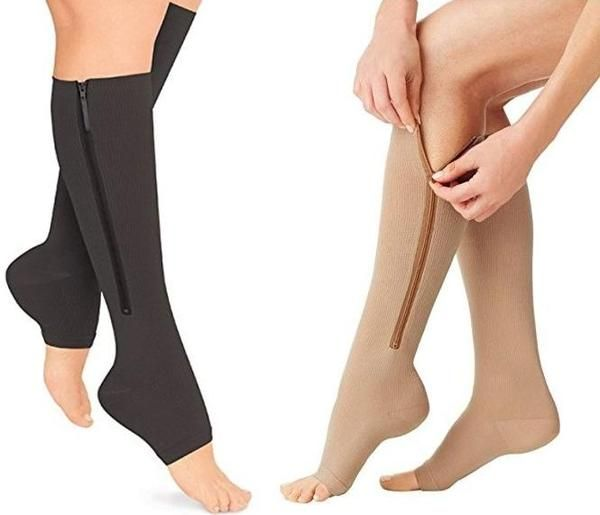 1359fc1355 Open Toe Zipper Compression Socks Graduated Stockings - Zip Up with Ease! -  Affordable Compression Socks