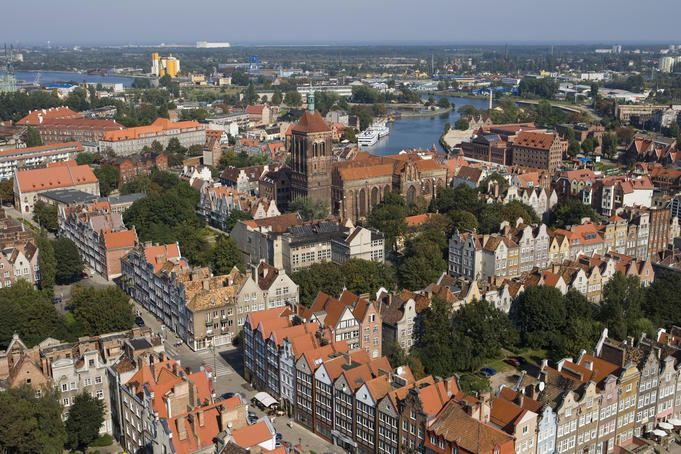 Overhead of Old Town from St. Mary's Basilica Church Tower.