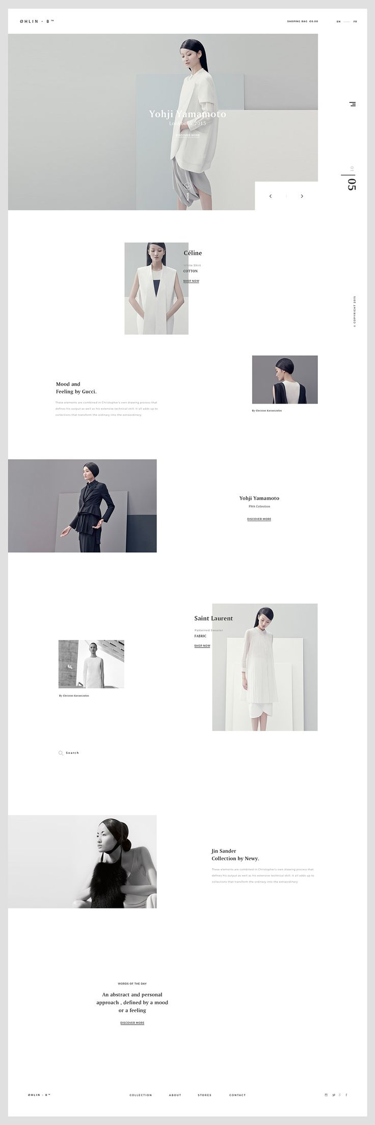 ØHLIN – B Concept minimal fashion website