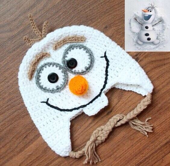 Hand crochet children hat Character Olaf from the children movie.   Sizes: They are stretchable   Small: Baby/Toddler   Medium: Toddler   Large: This size also fits teens and adults.