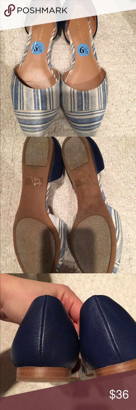 Tommy Hilfiger Ballet Flats size 6 1/2 Tommy Hilfiger Ballet Flats size 6 1/2 with blue stripes and solid heel. Cotton canvas toe and solid heel. Comfortable insole. Light wear. See photos Tommy Hilfiger Shoes Flats & Loafers