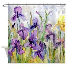 yellow and purple shower curtain. From the watercolor artist Miriam Schulman comes a shower curtain with  romantic depiction of purple and yellow irises in garden Best 25 Gray curtains ideas on Pinterest Spa like living