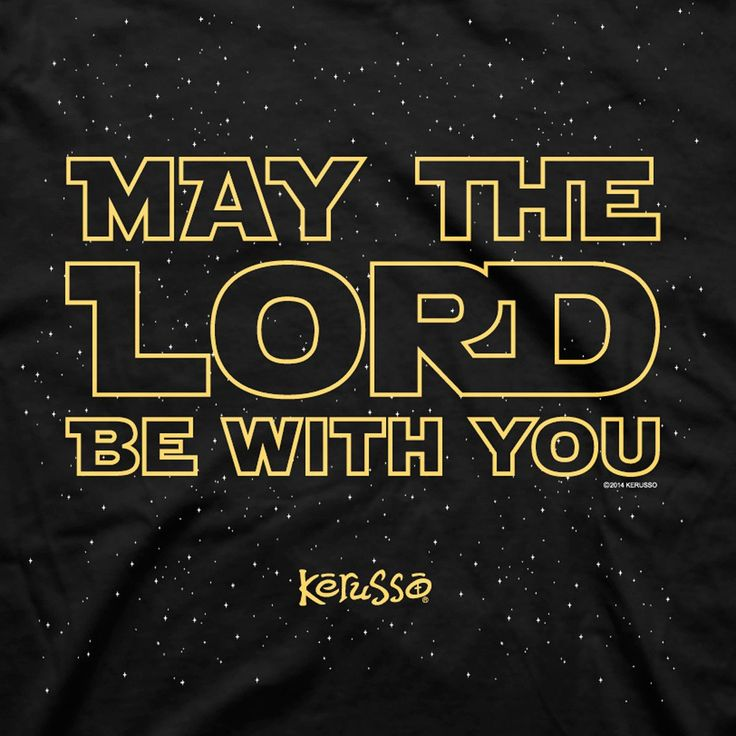 This iconic Star Wars inspired Christian T-Shirt design from Kerusso is sure to bring a smile to those you encounter each day. Printed in glow in the dark ink on a star flecked black tee, the front of