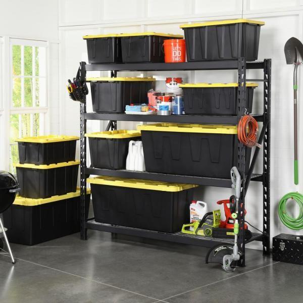 Husky Black 4 Tier Heavy Duty Steel Garage Storage Shelving 77 In W X 78 In H X 24 In D Garage Storage Solutions Garage Shelving Units Garage Storage Bins