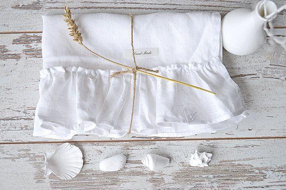 Romantic linen towel - Linen hand / face towel  - White linen tea towel - White towel with ruffles - Pure white guest  towels