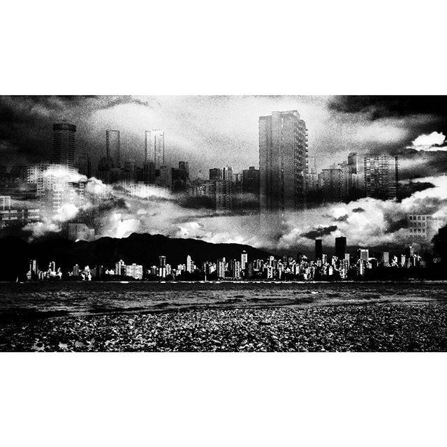 Castle in the clouds.  #vancouverinblackandwhite #doubleexposure#vancity #moodygram #blackwhitephotography #bnw#monochrome #bnw_city#bnw_creatives #noir_vision#simply_noir_blanc #instablackandwhite#insta_bw #streetphotography_bnw